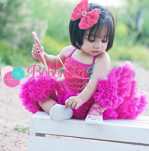 Children Girl Hot Pink Rosette Petti Dress - Baby Girl Tutu Dress -Baby First Birthday Dress - Kids Clothing(China (Mainland))
