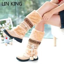 LIN REY Moda Media Sobre La Rodilla Altas Botas de Nieve de Las Mujeres plataformas zapatos de cuentas Peludo Caliente Botas de Invierno tamaño libre del envío 35-40(China (Mainland))