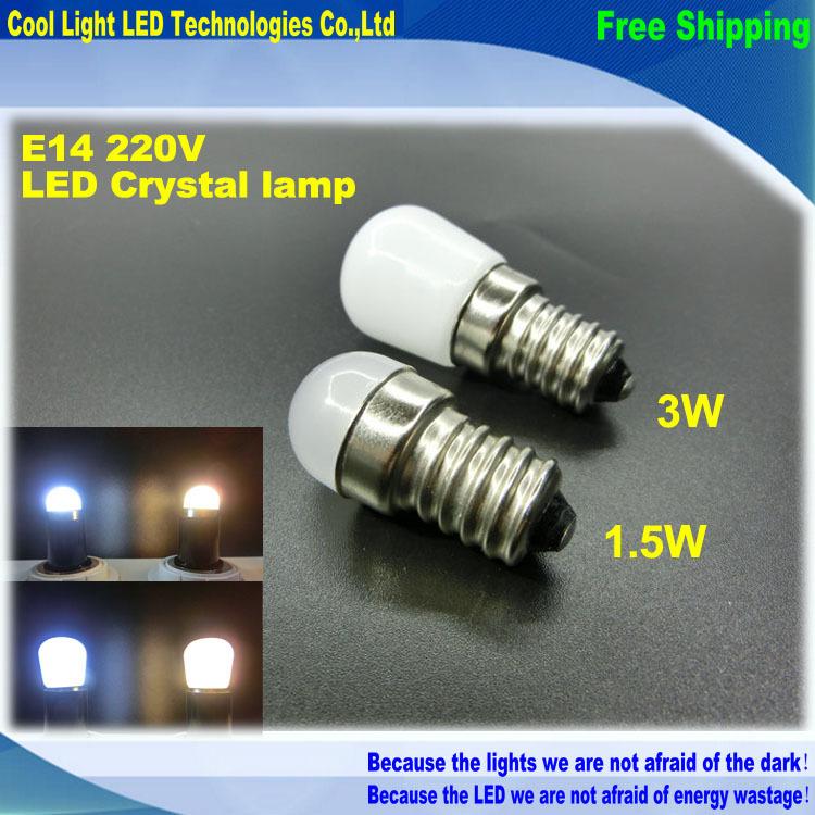 New Product E14 2W 3W Refrigerator LED lighting mini bulb AC220V~240V Bright indoor lamp for Fridge Freezer,1pcs/lot(China (Mainland))