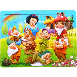Wooden Puzzle Snow White and the Seven Dwarves Jigsaw 60 Pieces Educational Toy for Children Gift(China (Mainland))
