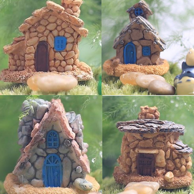 2015 Stone House Fairy Garden Miniature Craft Micro Cottage Landscape Decoration Random Style For DIY Resin Crafts Decoration(China (Mainland))