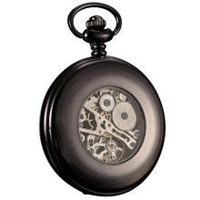 KS Antique Black Skeleton Dial Black Alloy Case Analog Hand Wind Clock Necklace Steampunk Men Mechanical Pocket Watch / KSP035