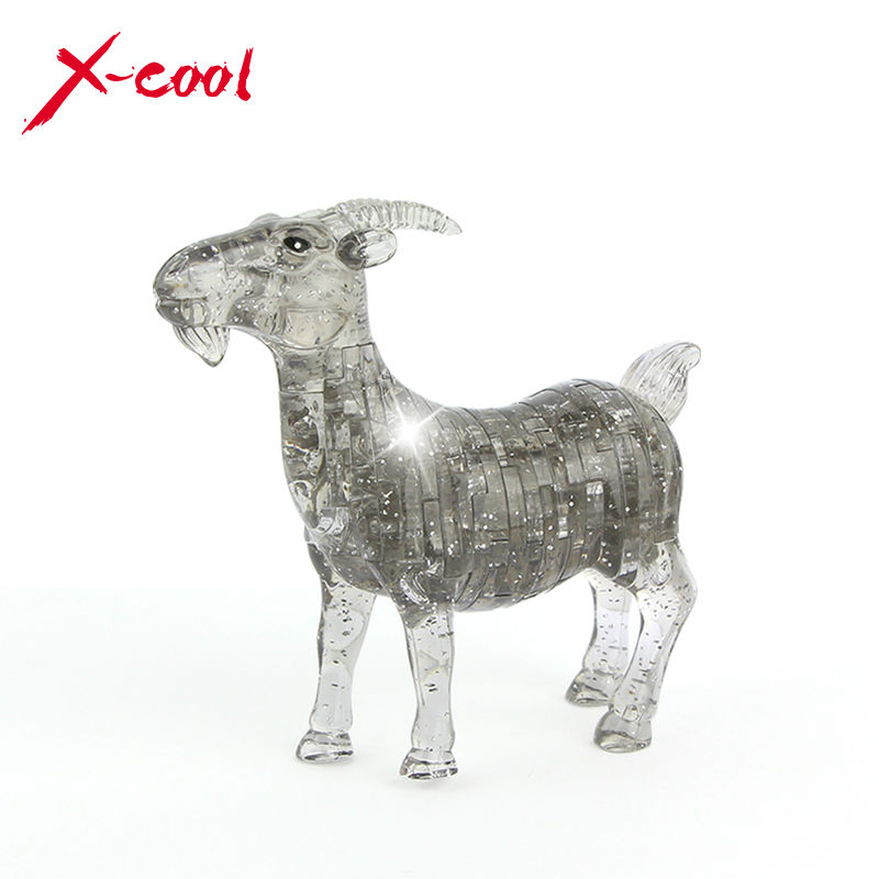 51pcs XC9063 DIY Funny Goat 3D Crystal Puzzles animal assembled model birthday new year gift children play set toys for kids(China (Mainland))