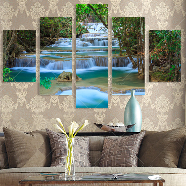 5 panel modern prints forest river painting pictures - Landscape paintings for living room ...