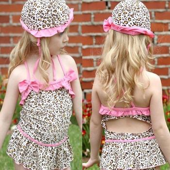 New Infant Baby Girls Toddler Swimwear Leopard Bikini Kids Bathing Suit One-Piece Swimsuit swim wear