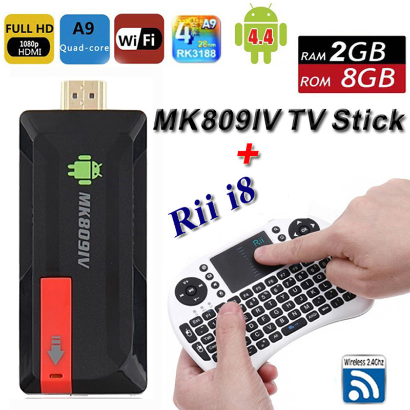 Android TV Box MK809IV + i8 Air Mouse Wireless Keyboard Smart Stick Quad Core RK3188 2G 8G XBMC Fully Loaded WIFI Mini PC HDMI<br><br>Aliexpress