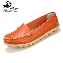 Shoes Woman 2016 Genuine Leather Women Shoes Flats 5 Colors Loafers Slip On Women's Casual Flat Shoes Moccasins Plus Size 35-41(China (Mainland))