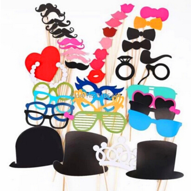 Free Shipping 1Set Of 44pcs Photo Booth Props Glasses Mustache Lip On A Stick Wedding Birthday Party Fun Favor My4j(China (Mainland))