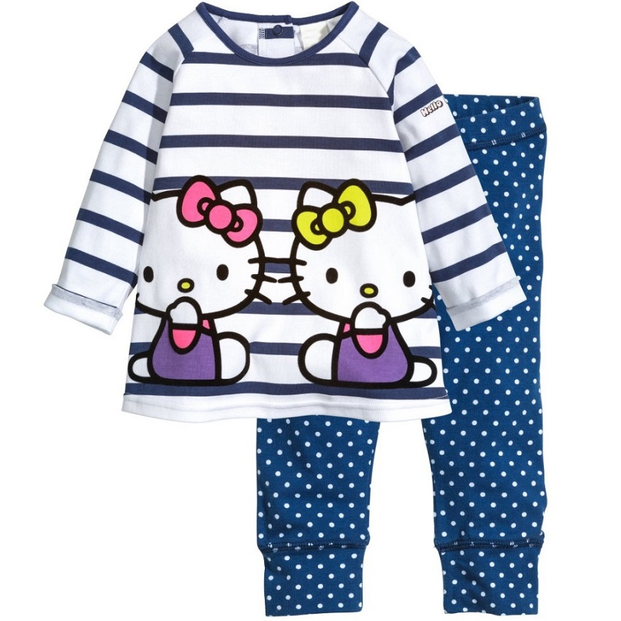 Kitty Girls Clothes Sets Long Sleeve T-Shirts Stripe Tee Shirts Polka Dot Kids Trousers Tights Girls Blouse Dresses Outfits(China (Mainland))