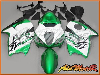 Aftermarket ABS Motorcycle Fairings For GSXR1300 96-07 Green White S3644
