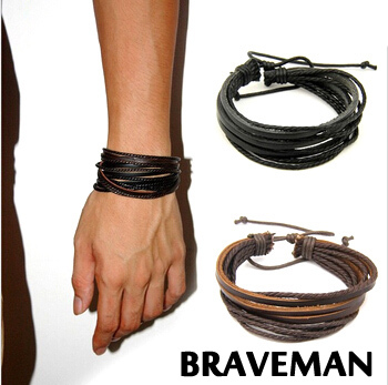 Braveman Handcraft Leather Wrap Bracelets Knitted Cowhide With Rope Bangles Fashion Men Jewelry Loves Wristband(China (Mainland))