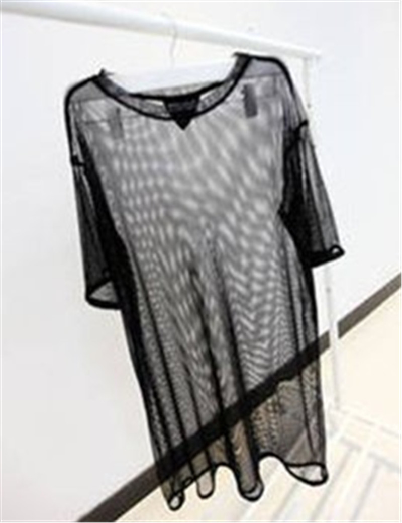 Para mujer del verano PUNK ROCKER vestuario de red de malla camiseta TOP(China (Mainland))