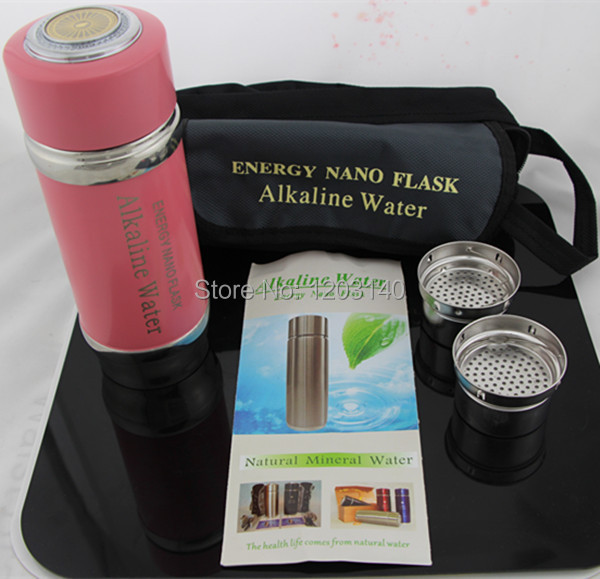 New Arrival Stainless Steel Alkaline Water Cup Nano Energy Cup ionizer flask energy bottle with two filters Enhancer Ionizer(China (Mainland))