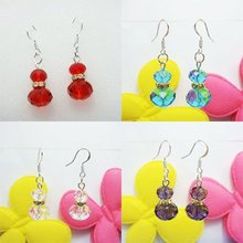 Fashion Jewelry 36pairs/lot Assorted Colors 925 stamped silver Earrings Crystal Beads with Golden Spacer Free Shipping Promotion(China (Mainland))