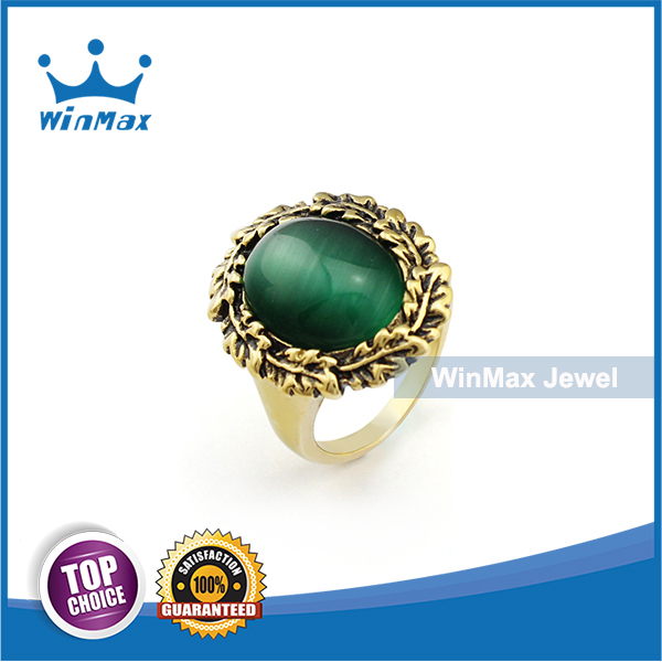 WinMax Jewel Women Ring Engraved Vintage Stainless Steel Jewelry With Green Opal High Quality Plating(China (Mainland))