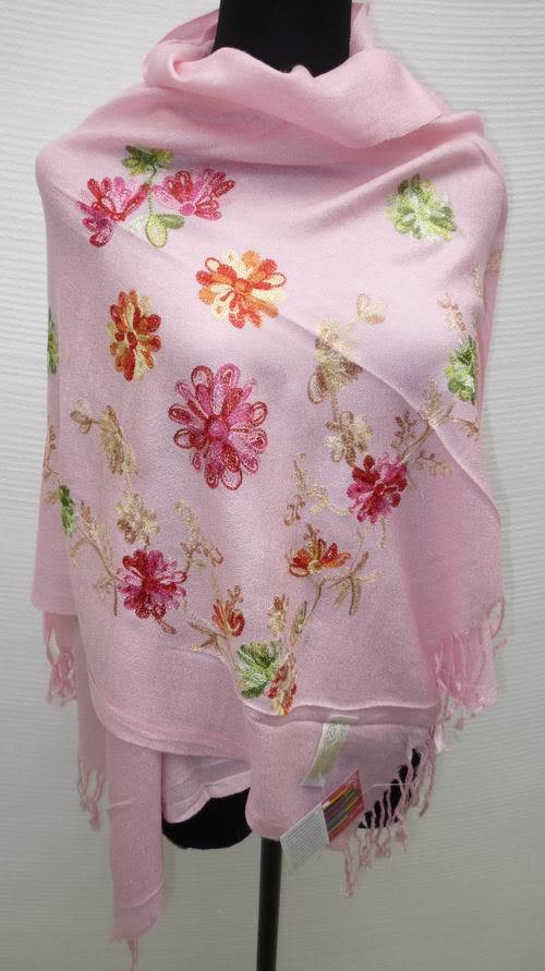 Free Shipping Baby Pink Chinese Women's Silk Pashmina Embroider Shawl Scarves Wrap Flowers SW-003(China (Mainland))