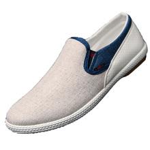 New Modern British Fashion Men Shoes Eu 39-44 Linen Woven Patchwork Design Urban Man Leisure Breathable Flat Shoes