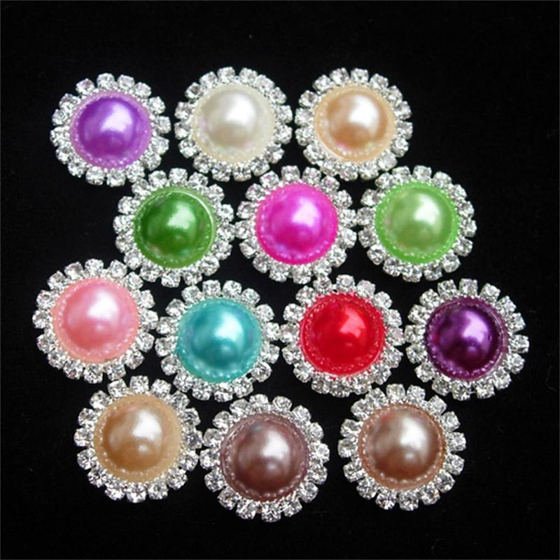 1Set10Pcs 15MM Bling Wedding Ivory Rhinestones Pearl Button Flatback DIY Buckle Hot Craft Jewelry Accessory Sewing Craft(China (Mainland))