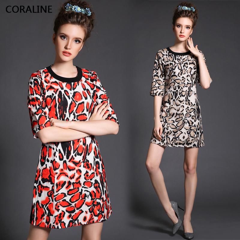 Plus size 5XL Women Dress 2015 Europe Fashion Half Sleeve Leopard Print Waist Slim Ladies Dress Free Shipping Y1520(China (Mainland))