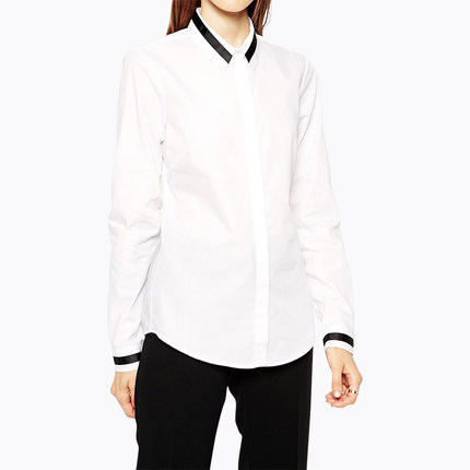 Ladies White Cotton Blouse Shirt Office Business Shirts For Women Contrast Trim Slim Fit Hidden Buttons XS-XXL Free Shipping(China (Mainland))