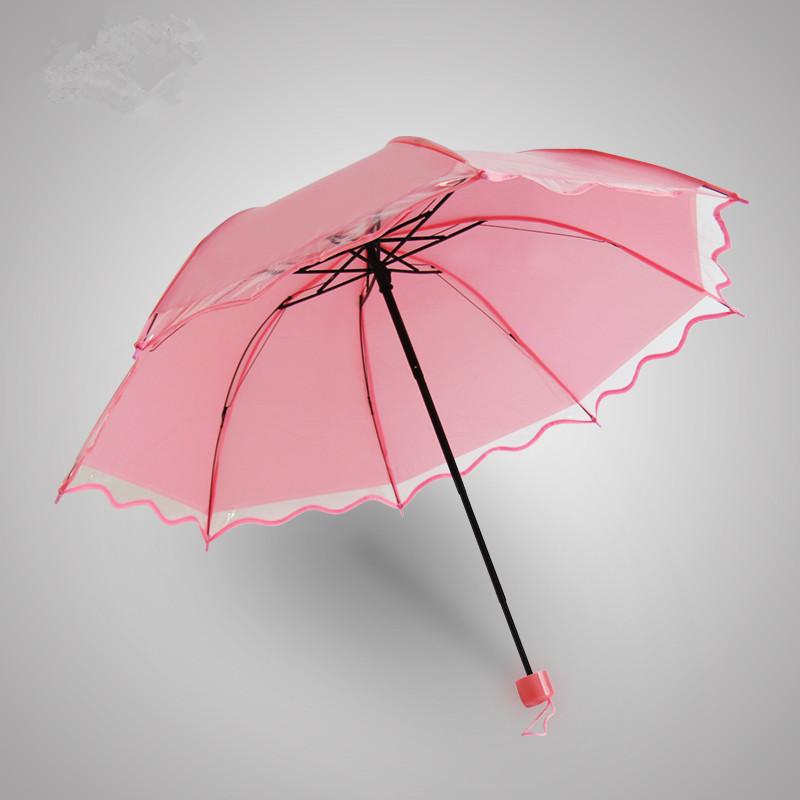 Creative Transparent Women Umbrella Rain Brand 3 Folding Romantic Wedding Umbrella PVC Fashion Transparent Umbrella High Quality(China (Mainland))