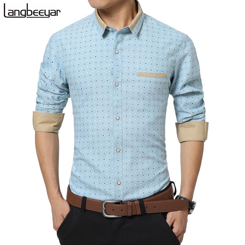 2016 Fashion Men Clothes Polka Dot Casual Men Shirts Long Sleeve Slim Fit Man Shirts High Quality Designer Mens Dress Shirts 5XL(China (Mainland))