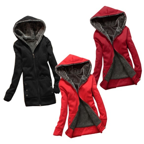 Fashion Casual Women's Hoodie Coat Thicken Outerwear Jacket 3 Colors 4Sizes Retail & Wholesale 35