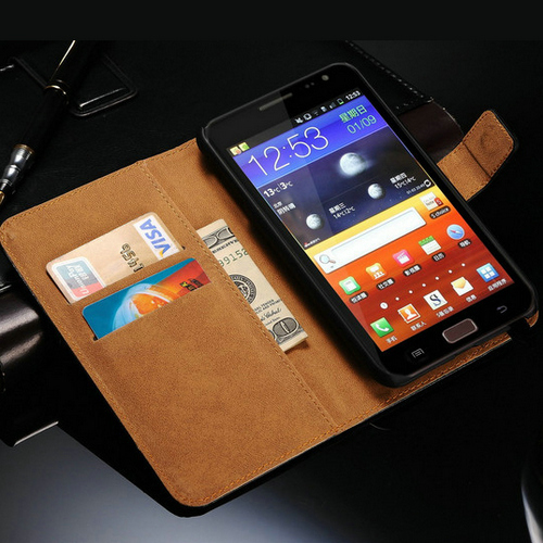 Genuine Leather Case For Samsung Galaxy Note N7000 I9220 Wallet Style Phone Bag With Stand + Care Holders 1 Bill Site(China (Mainland))