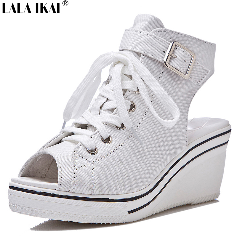 2015 Summer Belt Buckle Canvas Shoes Women Wedge Sneakers Open Toe Lace Up Platform Women Sandals Women Shoes XWF0350-5(China (Mainland))