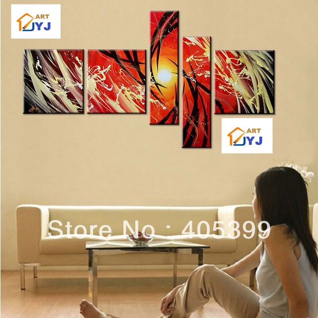 Free Shipping !!! 5 Pieces ,Large Handmade Modern Canvas Oil Painting Wall Art ,Free Shipping Worldwide Z068