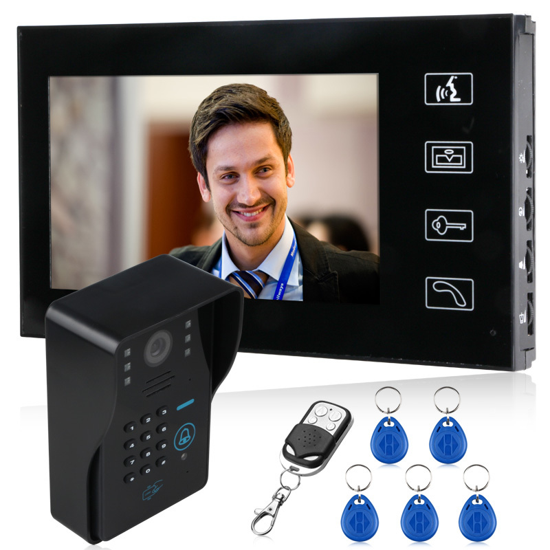 video color door phone 7 inch Two monitors add one camera(China (Mainland))