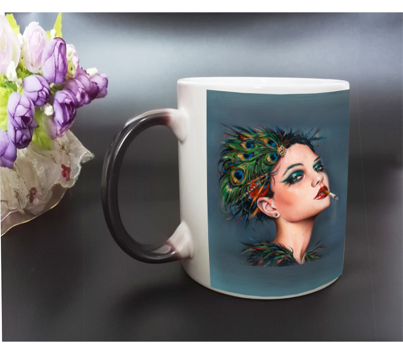 Paintings on Color Changing Mug Hot Heat transfer Black Magic Cup Printing with Sex Smoking Girls By Artist Brian M(China (Mainland))