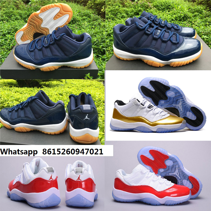 New 2016 women air jordan 11 xi retro shoes low white gold gym red navy gum olympic with original box for woman size US5 to 8.5(China (Mainland))