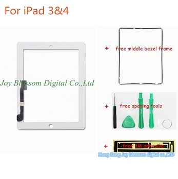 Big Promotion For iPad 3 4 White Screen Touch Digitizer + Middle Frame + Opening Tools+3M Adhesive For iPad3 iPad4