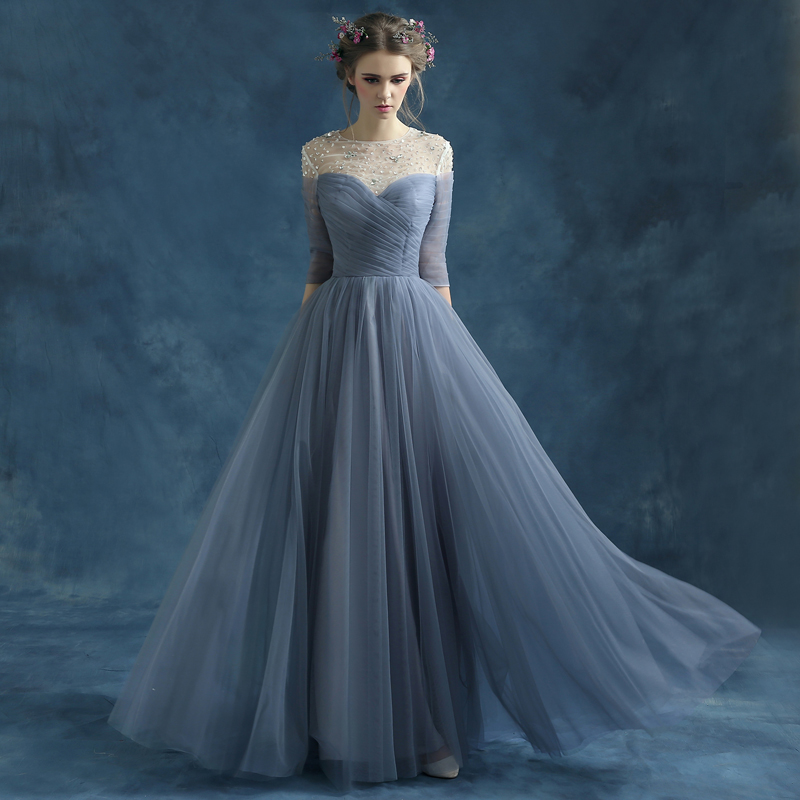 Grey Blue Evening Dress 2015 New Fashion Perspective Backless Beading A-line Long Prom Dress The Bride Elegant Formal Dress(China (Mainland))