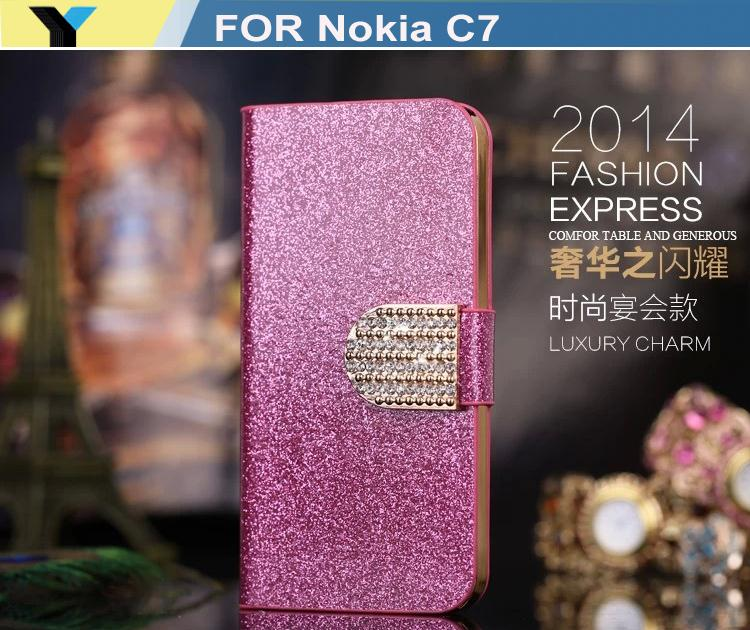Luxury bling case Shining PU leather Crystal Flip Wallet bling case cover for Nokia C7 cell phone(China (Mainland))