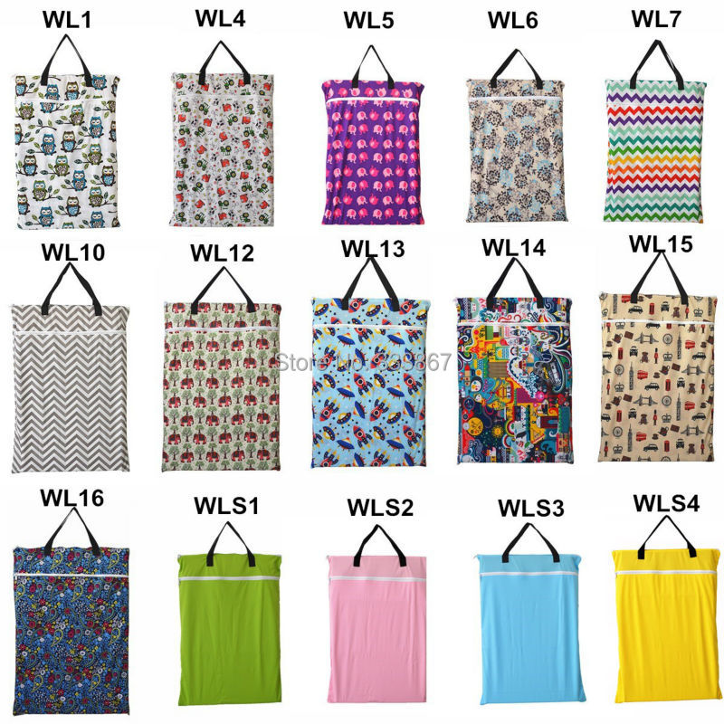 1 U PICK Large Hanging Wet/Dry Pail Bag for Cloth Diaper,Inserts,Nappy, Laundry With Two Zippered Waterproof, Reusable,14 Choice(China (Mainland))