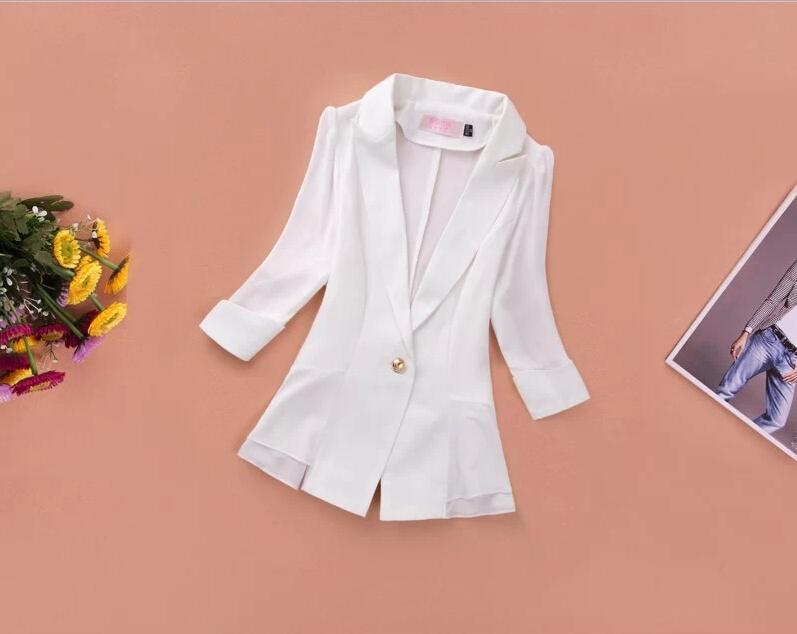 2015 New Ladies Blazer Single Button Chiffon Blazer Summer Three Quarter RUFFLES female OL Short Blazer(China (Mainland))
