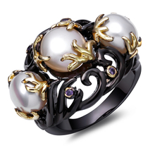 DC1989's Special Women Pearl Rings Black & Gold Plated Fresh Water Pearl Amethyst Cubic Zircon Setting Unique Fashion Lead Free(China (Mainland))