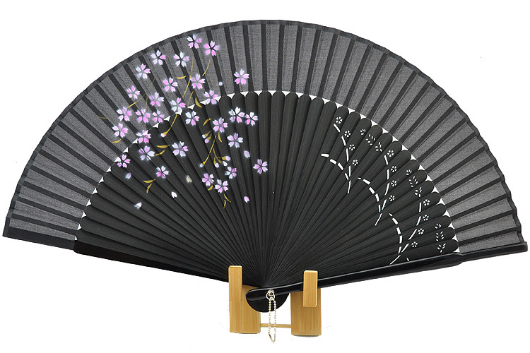 Handmade Craved Fine Bamboo Painted Silk Hand Fan Japanese Sakura 12 Colors floding fan(China (Mainland))