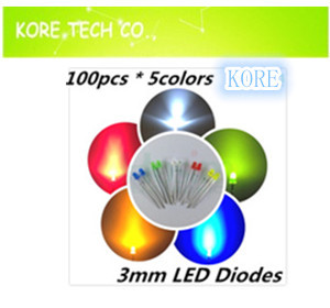 Best Price! 3mm LED 50=10x 5colors WHITE / BLUE GREEN YELLOW RED LEDS Light Lamp Light-Emitting Diodes Y - Kore Tech co. Ltd. store