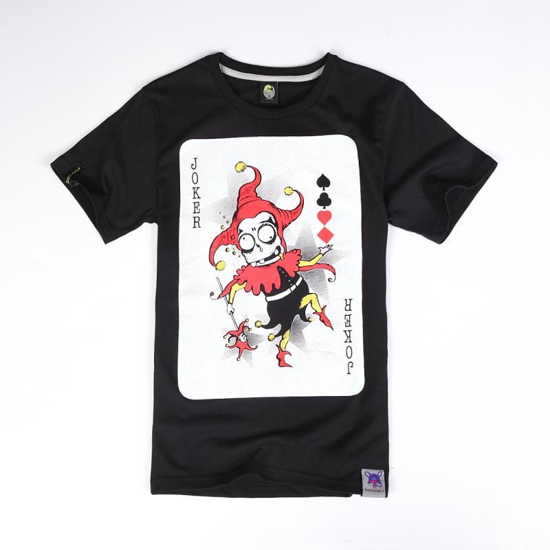 2016 de calidad superior JOKER Poker diseño verano pareja de junior adolescentes corto manga de la camiseta moda o-cuello ocasional(China (Mainland))