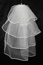 Four Layer White Bridal Veil White Beaded Wedding Veil Simple And Cheap 1.5 Bridal Veils 2016(China (Mainland))