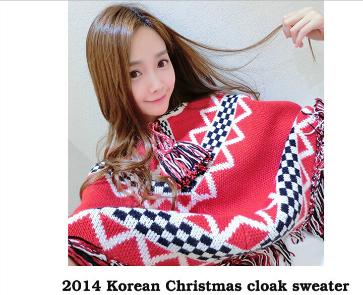Women Poncho Asymmetrical Sweater Tassel Plaid Pullover Girls Sweater Vestidos Casual Free Shipping Ugly Christmas Sweater