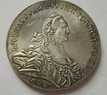 1763 RUSSIA SILVER 1 ROUBLE/RUBLE Coin VF Catherine II KM-C672. St. Petersburg copy coins