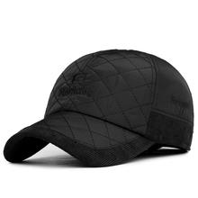 2016 Warm Winter Baseball Cap Men Brand Snapback Black Solid Bone Baseball Mens Winter Hats Ear Flaps(China (Mainland))