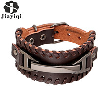 2016 New Brand Vintage Men Bracelets & Bangles Punk Handmade Wide Cuff Leather Bracelet Woven Wristband Bangles For Men Jewelry(China (Mainland))