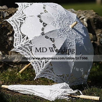 2015 вышитые белый / кот-линии Battenburg кружева зонтик свадебные украшения бесплатная ...