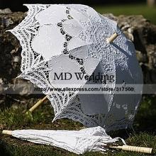2015 ricamato bianco/avorio battenburg lace ombrello parasole wedding ombrello da sposa decorazioni spedizione gratuita(China (Mainland))
