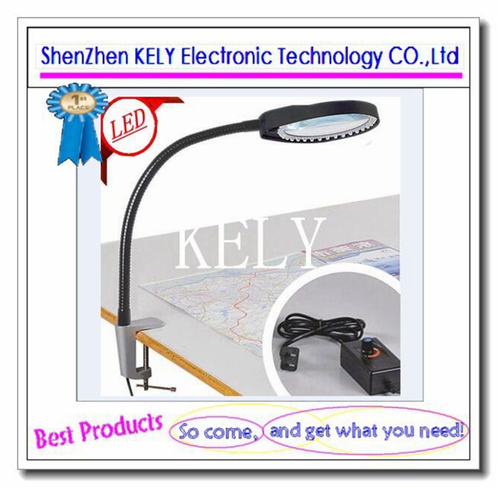 Adjustable clamp type table with LED work lamp 8 times white glass optical magnifier Maintenance of mobile phone and computer(China (Mainland))
